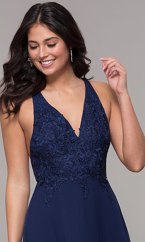 Image of open-back lace-applique v-neck long formal dress. Style: LP-25786 Detail Image 1