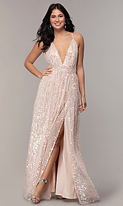 Image of backless sequin v-neck long prom dress in blush pink. Style: LP-25932 Front Image