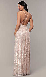Image of backless sequin v-neck long prom dress in blush pink. Style: LP-25932 Back Image