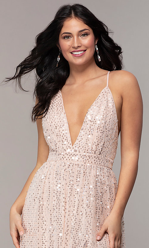 Image of backless sequin v-neck long prom dress in blush pink. Style: LP-25932 Detail Image 1