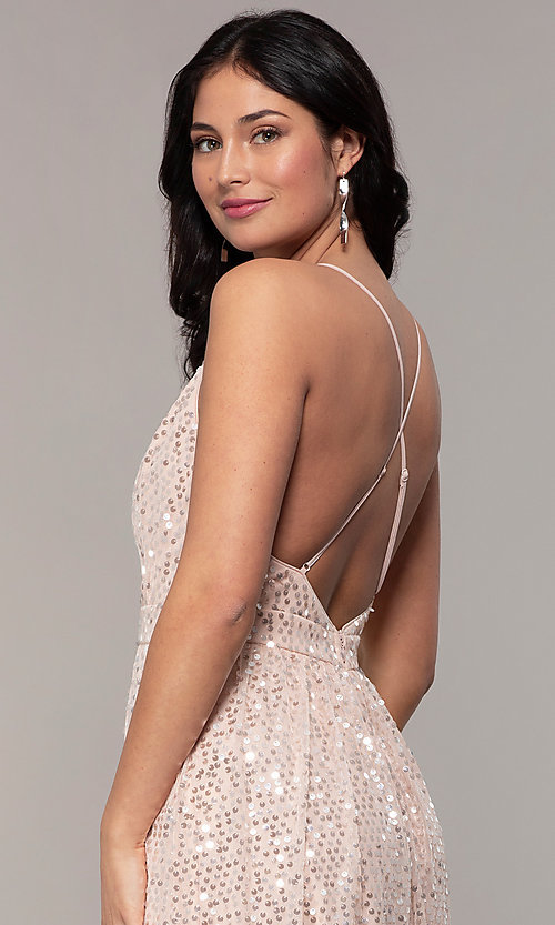 Image of backless sequin v-neck long prom dress in blush pink. Style: LP-25932 Detail Image 2