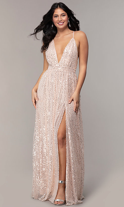 Image of backless sequin v-neck long prom dress in blush pink. Style: LP-25932 Detail Image 3