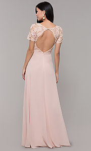 Image of short-sleeve lace-bodice long chiffon prom dress. Style: LP-27529 Detail Image 5