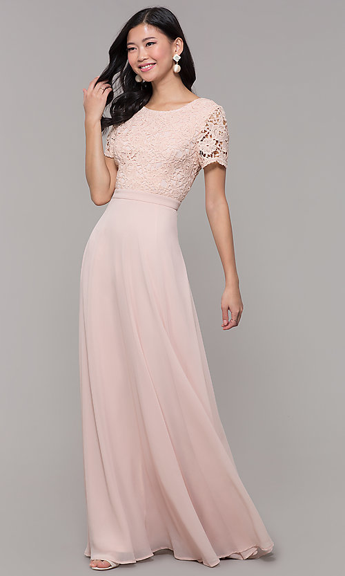 Image of short-sleeve lace-bodice long chiffon prom dress. Style: LP-27529 Detail Image 4