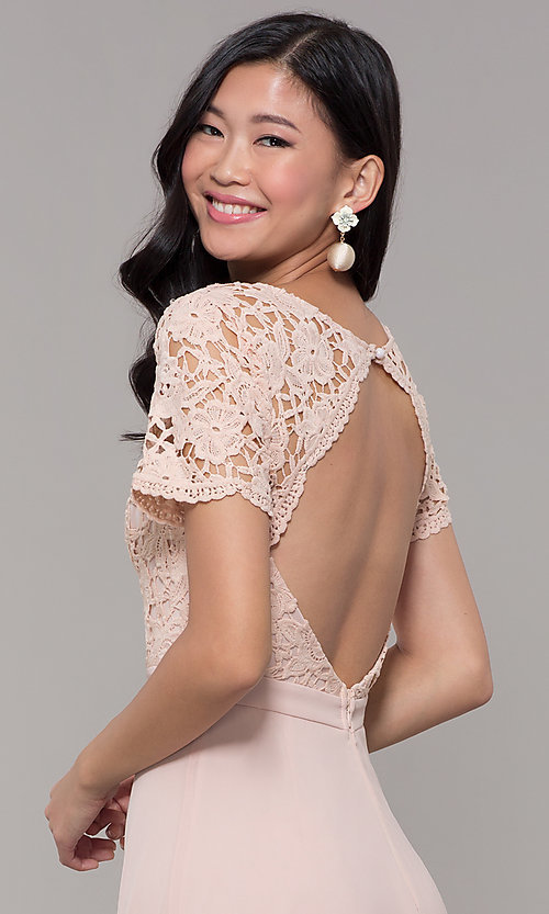Image of short-sleeve lace-bodice long chiffon prom dress. Style: LP-27529 Detail Image 7