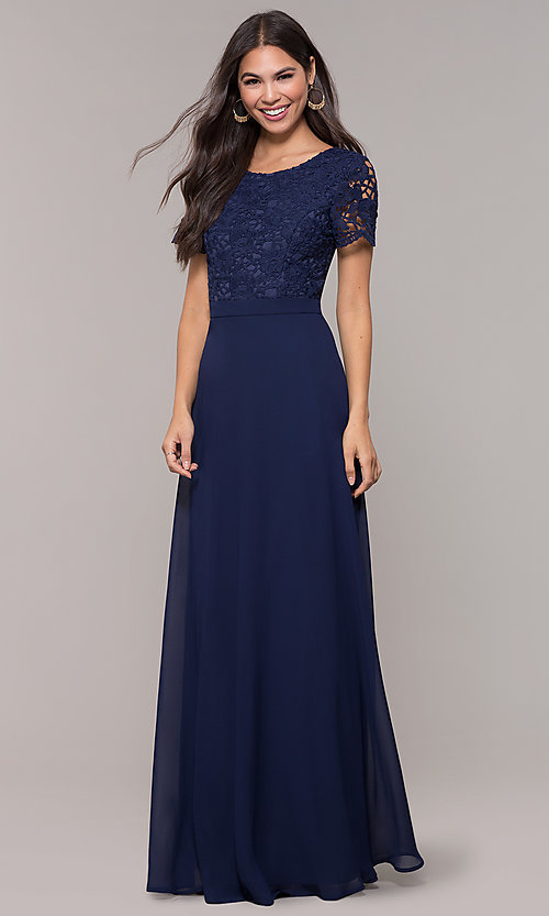 Image of short-sleeve lace-bodice long chiffon prom dress. Style: LP-27529 Detail Image 3
