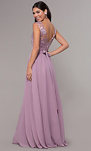 Image of embroidered v-neck long chiffon prom dress. Style: LP-27685 Back Image