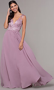 Image of embroidered v-neck long chiffon prom dress. Style: LP-27685 Detail Image 3