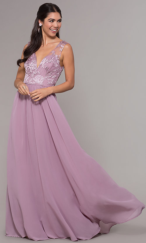 Image of embroidered v-neck long chiffon prom dress. Style: LP-27685 Front Image