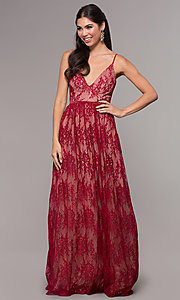 Image of sleeveless long lace prom dress with v-neckline. Style: LP-27745 Detail Image 6