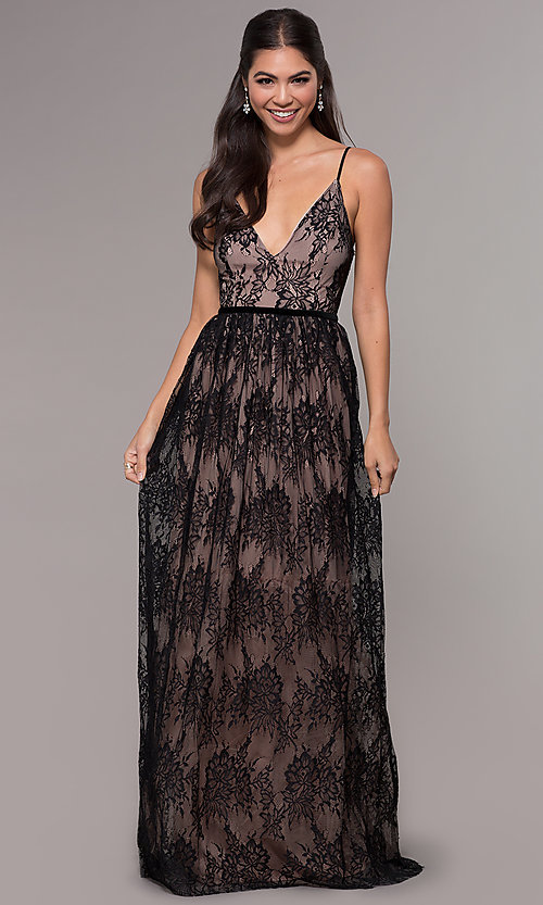 Image of sleeveless long lace prom dress with v-neckline. Style: LP-27745 Front Image