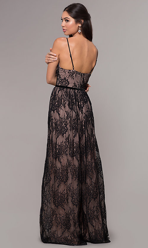 Image of sleeveless long lace prom dress with v-neckline. Style: LP-27745 Back Image