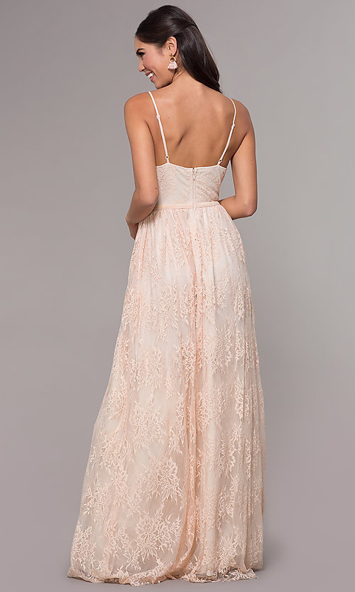 Image of sleeveless long lace prom dress with v-neckline. Style: LP-27745 Detail Image 4