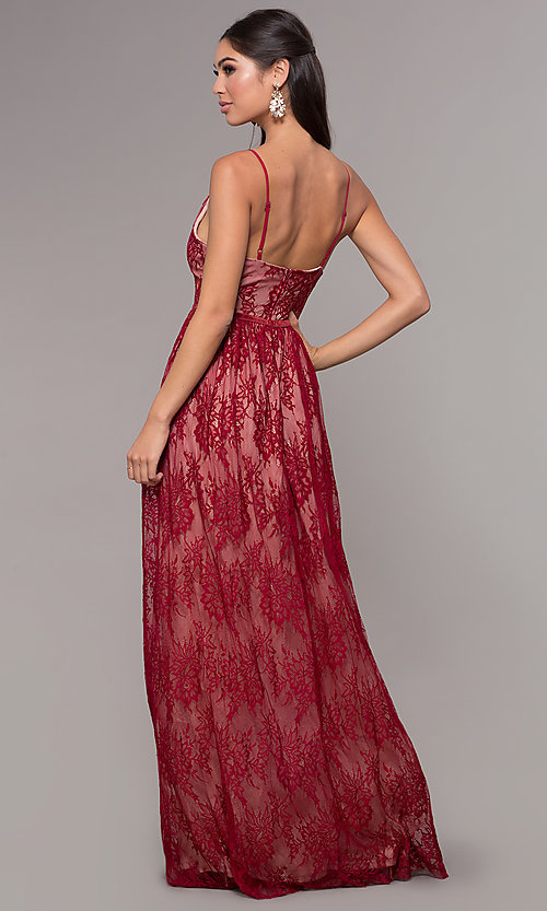 Image of sleeveless long lace prom dress with v-neckline. Style: LP-27745 Detail Image 7