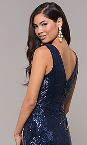 Image of sequin v-neck long formal prom dress with ruching. Style: LP-24279 Detail Image 2
