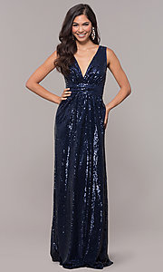 Image of sequin v-neck long formal prom dress with ruching. Style: LP-24279 Detail Image 3