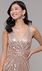 Image of sequin v-neck long formal prom dress with ruching. Style: LP-24279 Detail Image 6