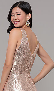 Image of sequin v-neck long formal prom dress with ruching. Style: LP-24279 Detail Image 7
