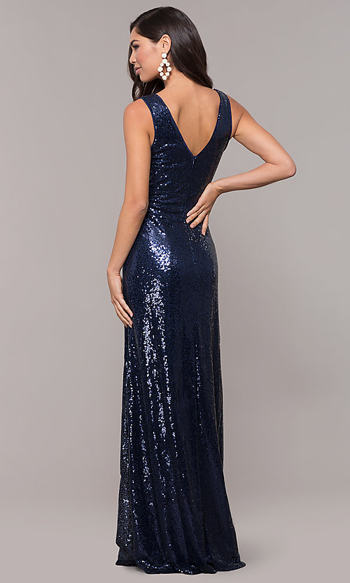 Image of sequin v-neck long formal prom dress with ruching. Style: LP-24279 Back Image