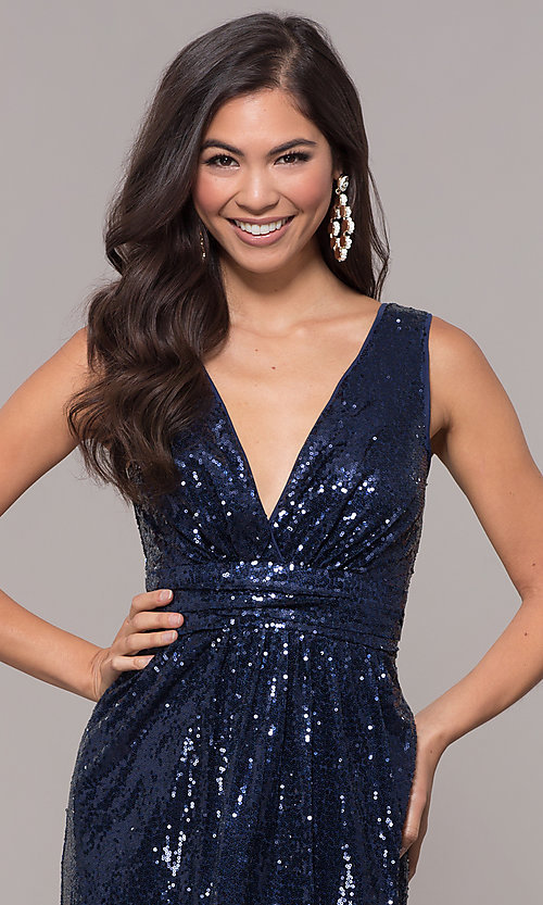 Image of sequin v-neck long formal prom dress with ruching. Style: LP-24279 Detail Image 1