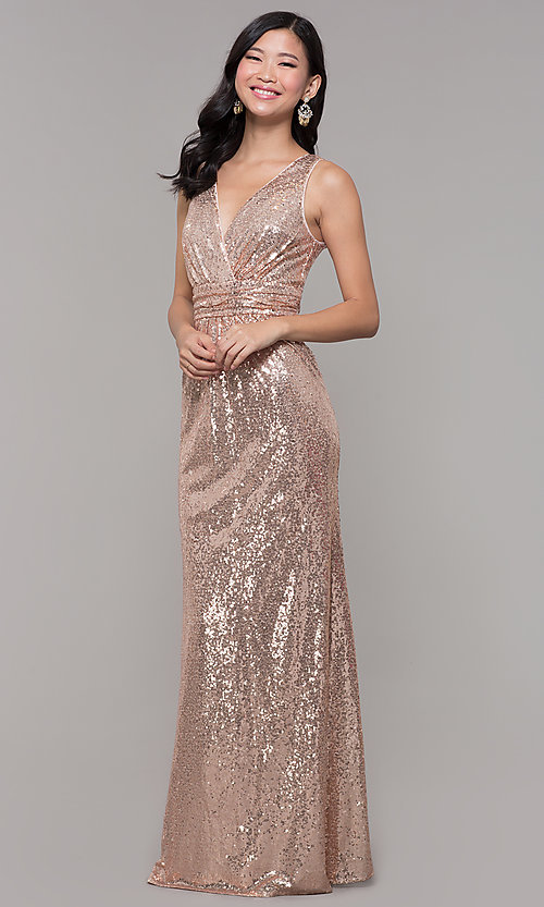 Image of sequin v-neck long formal prom dress with ruching. Style: LP-24279 Detail Image 4