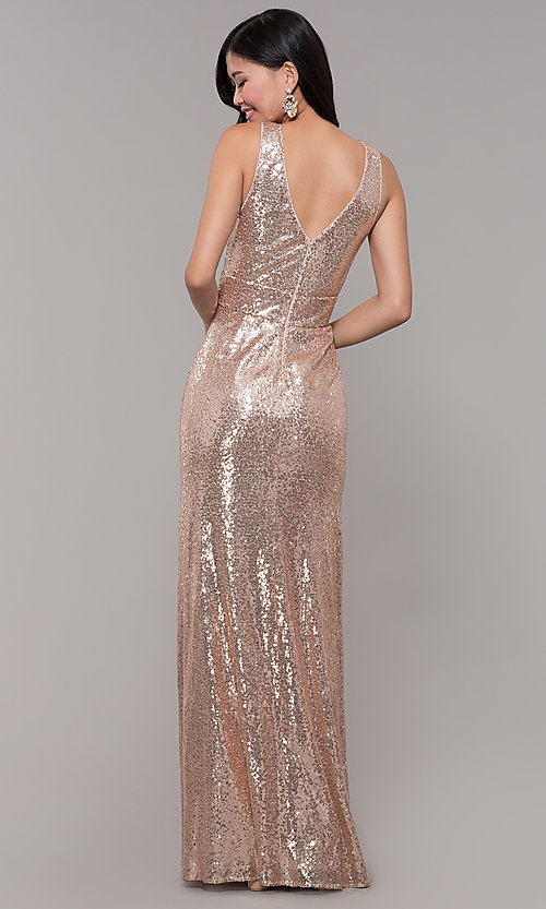 Image of sequin v-neck long formal prom dress with ruching. Style: LP-24279 Detail Image 5