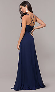 Image of faux-wrap long v-neck prom dress with lace bodice. Style: LP-27796 Back Image