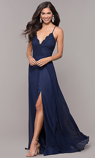 Faux-Wrap Long V-Neck Prom Dress with Lace Bodice