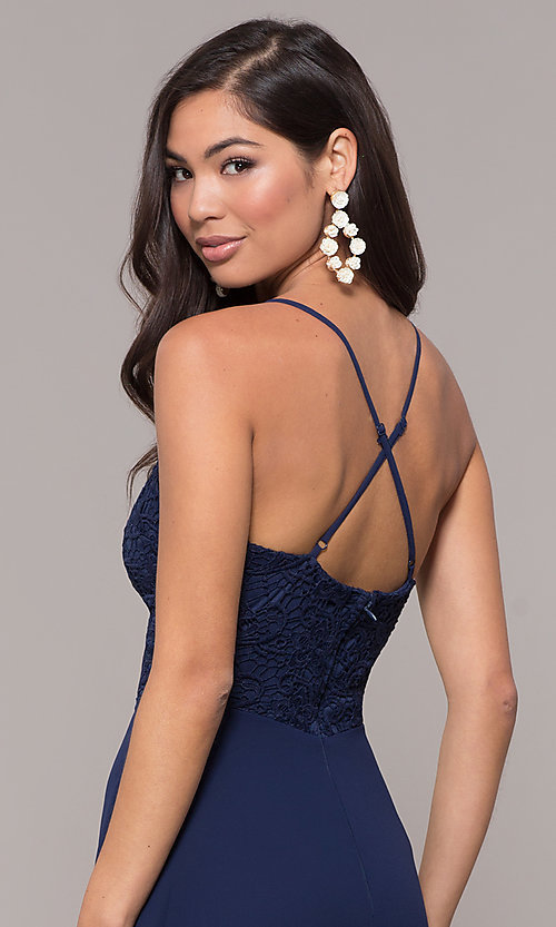 Image of faux-wrap long v-neck prom dress with lace bodice. Style: LP-27796 Detail Image 2