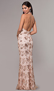 Image of halter v-neck sequin-embroidered formal prom dress. Style: LP-25788 Back Image