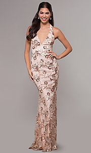 Image of halter v-neck sequin-embroidered formal prom dress. Style: LP-25788 Detail Image 3