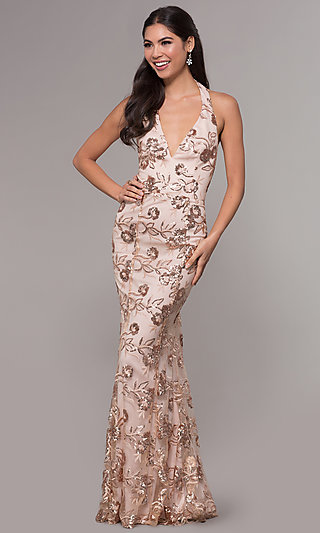 Halter V-Neck Sequin-Embroidered Formal Prom Dress