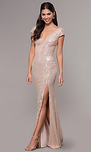 Image of long sequin v-neck cap-sleeve formal dress. Style: LP-25345 Front Image