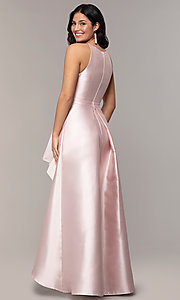 Image of long high-low formal prom dress in satin. Style: LP-27492 Detail Image 4