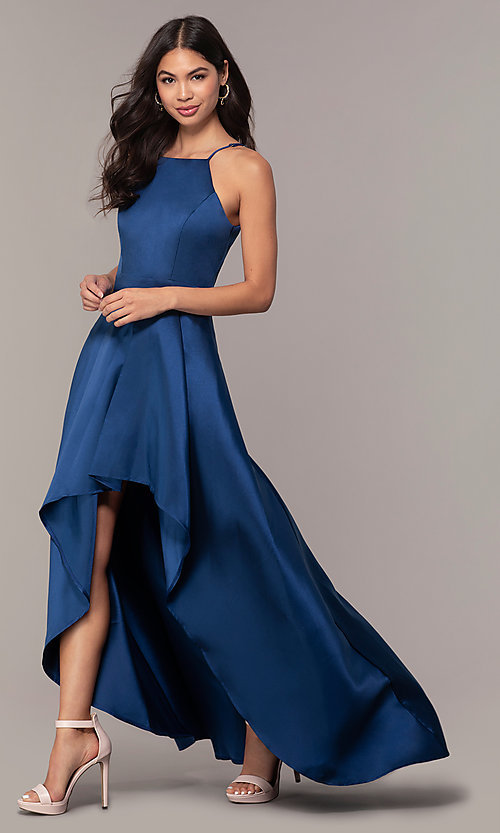 Image of long high-low formal prom dress in satin. Style: LP-27492 Front Image