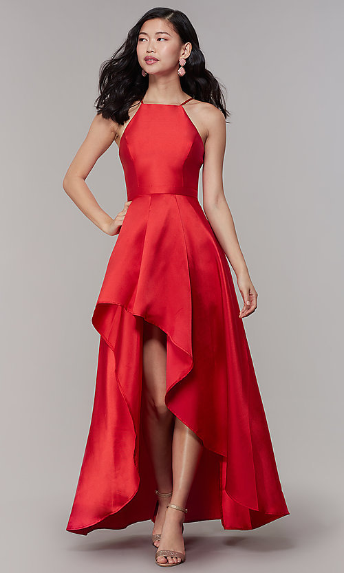 Image of long high-low formal prom dress in satin. Style: LP-27492 Detail Image 6