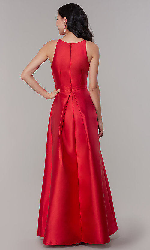 Image of long high-low formal prom dress in satin. Style: LP-27492 Detail Image 7