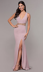 Image of sheer-waist v-neck long formal prom dress. Style: LP-25894 Detail Image 4