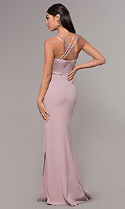 Image of sheer-waist v-neck long formal prom dress. Style: LP-25894 Detail Image 5
