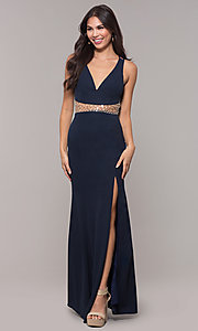 Image of sheer-waist v-neck long formal prom dress. Style: LP-25894 Front Image