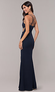 Image of sheer-waist v-neck long formal prom dress. Style: LP-25894 Back Image