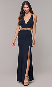 Image of sheer-waist v-neck long formal prom dress. Style: LP-25894 Detail Image 3