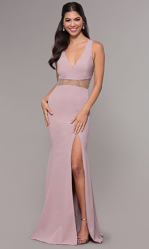 Image of sheer-waist v-neck long formal prom dress. Style: LP-25894 Detail Image 8