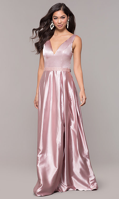 Image of ball-gown-style long v-neck satin prom dress. Style: LP-25832 Detail Image 3