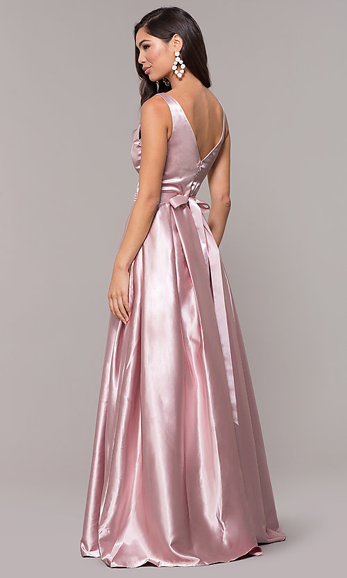 Image of ball-gown-style long v-neck satin prom dress. Style: LP-25832 Back Image