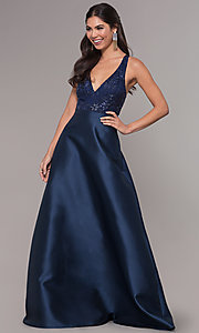 Image of embroidered v-neck navy blue satin long prom dress. Style: LP-27701 Front Image