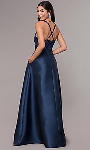 Image of embroidered v-neck navy blue satin long prom dress. Style: LP-27701 Back Image