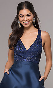 Image of embroidered v-neck navy blue satin long prom dress. Style: LP-27701 Detail Image 1