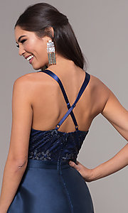 Image of embroidered v-neck navy blue satin long prom dress. Style: LP-27701 Detail Image 2