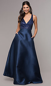 Image of embroidered v-neck navy blue satin long prom dress. Style: LP-27701 Detail Image 3